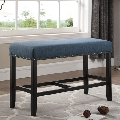 Amy Counter Height Upholstered Bench with Nailhead Trim Upholstery: Blue