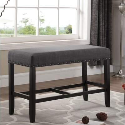 Amy Counter Height Upholstered Bench with Nailhead Trim Upholstery: Gray