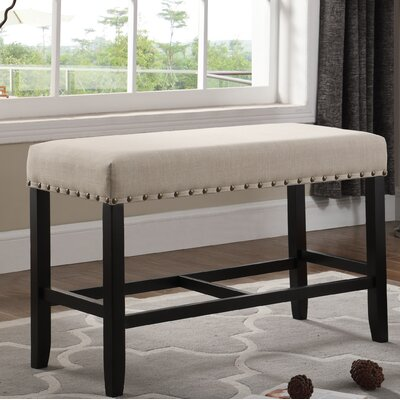 Amy Counter Height Upholstered Bench with Nailhead Trim Upholstery: Tan