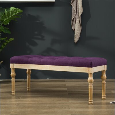 Brockwell Button Tufted Wood Bench Color: Purple