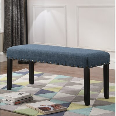 Amy Upholstered Bench with Nailhead Trim Upholstery: Blue