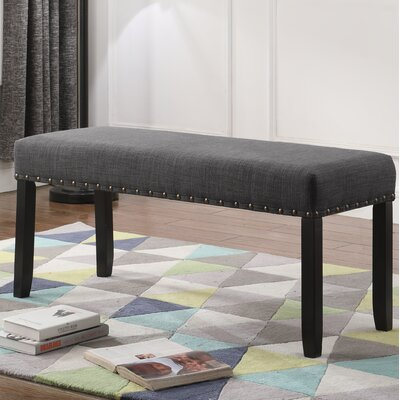 Amy Upholstered Bench with Nailhead Trim Upholstery: Gray