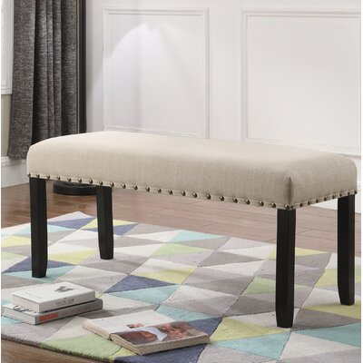 Amy Upholstered Bench with Nailhead Trim Upholstery: Tan