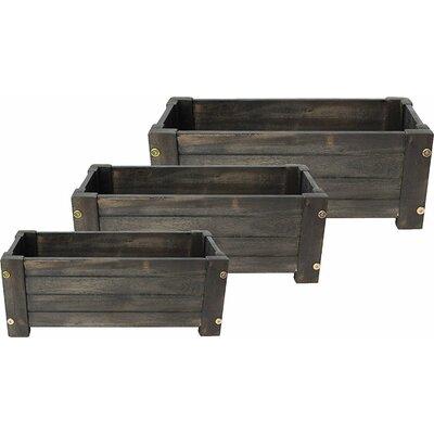"""3-Piece Wood Planter Box Set Size: 27"""" H x 15.5"""" W x 8"""" D, Color: Charcoal Brown"""