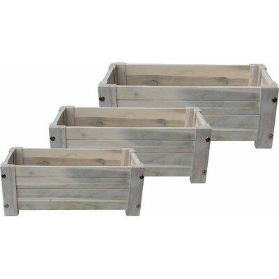 """3-Piece Wood Planter Box Set Size: 22"""" H x 14"""" W x 12"""" D, Color: White Oak"""