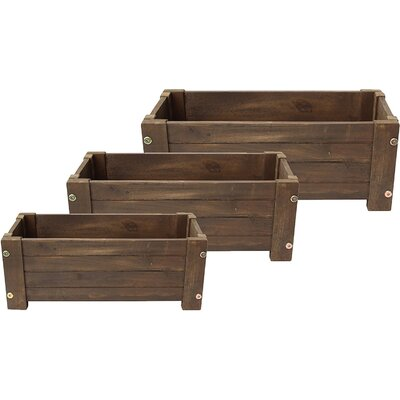 """3-Piece Wood Planter Box Set Size: 22"""" H x 14"""" W x 12"""" D, Color: Mocha Brown"""