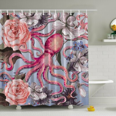 Octopus N' Roses Print Shower Curtain