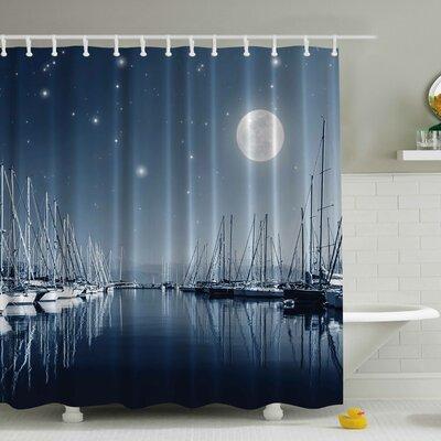 Pier in a Moonlight Print Shower Curtain