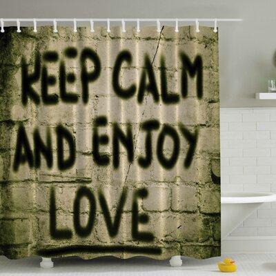 Keep Calm and Enjoy Love on Brick Print Shower Curtain