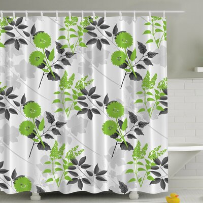 Flower Print Shower Curtain Color: Green