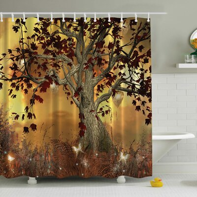 Nella Old Scary Twisted Tree Print Shower Curtain
