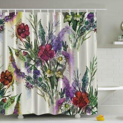 Bouquet of Watercolor Flowers Print Shower Curtain