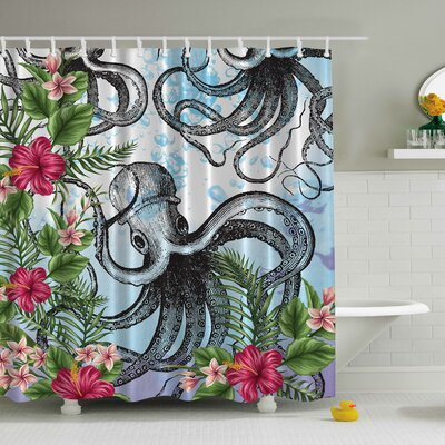 Octopus in Tropical Underwater Print Shower Curtain
