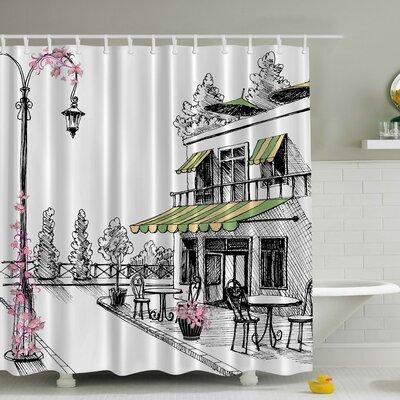 European Caf Print Shower Curtain
