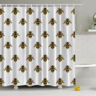 Honeybees Aligned Print Shower Curtain