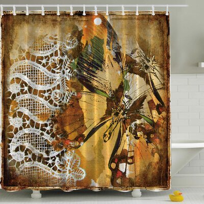 Vintage Lace with British Butterfly Print Shower Curtain