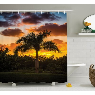 """Palm Tree Silhouette Scene at Sunset Twilight Tranquility in Nature Image Shower Curtain Set Size: 70"""" H x 69"""" W"""