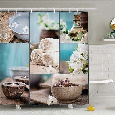 """Spa Far East Close to Your Heart Asian Massage Collage Oils Candles Flowers Shower Curtain Set Size: 70"""" H x 69"""" W"""