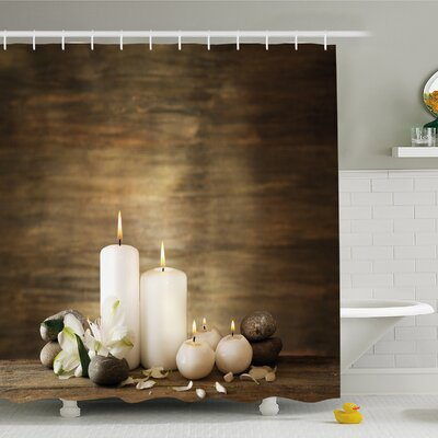 """Spa Composition of Pure Candles Wooden Background with Stones and Flower Petals Shower Curtain Set Size: 70"""" H x 69"""" W"""