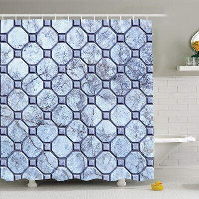 "Retro Marble Tiled Spiral and Round Circular Bound Tied Shapes Design Shower Curtain Set Size: 70"" H x 69"" W"