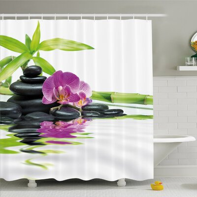 """Spa Asian Relaxation with Zen Massage Stones Orchid and Bamboo Shower Curtain Set Size: 84"""" H x 69"""" W"""