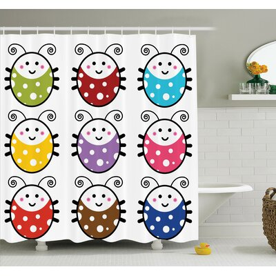"""Lizbeth Cute Smiling Ladybugs Shower Curtain Set Size: 75"""" H x 69"""" W"""