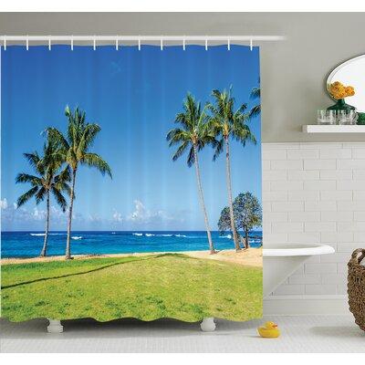 "Tropical Coconut Palm Hawaii Shower Curtain Set Size: 70"" H x 69"" W"
