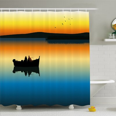"""Buddies on Tranquil Still Lake at Epic Sunset Fish Male Friends Home Decor Shower Curtain Set Size: 70"""" H x 69"""" W"""