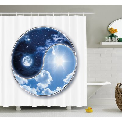 "Yin Yang Icon Shaped World with Moon and Sun Figures Harmony of the Universe Shower Curtain Set Size: 84"" H x 69"" W"