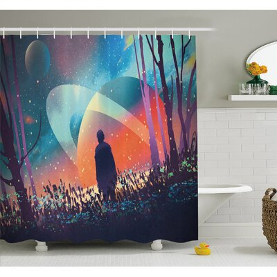 """Alone under Vibrant Reflections of Galaxy Planets Space Cosmos Art Shower Curtain Set Size: 84"""" H x 69"""" W"""