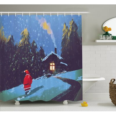 """Christmas Santa Claus Walking to the Mountain House Surrounded by Pines Shower Curtain Set Size: 70"""" H x 69"""" W"""