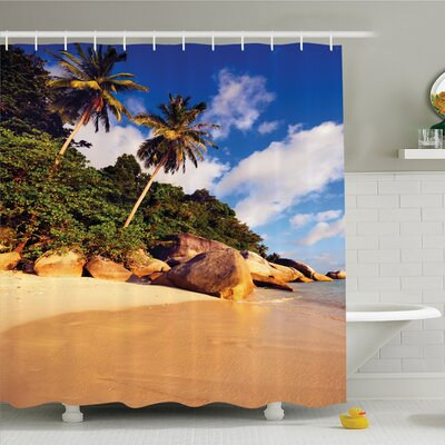 """Palm Tree Tropical Beach Serenity in Nature Exotic Fruit Coconut Rock Seascape Print Shower Curtain Set Size: 75"""" H x 69"""" W"""
