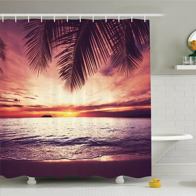 """Palm Tree Tropical Beach under Shadow at Sunset Ocean Waves Serenity in Natural Paradise Shower Curtain Set Size: 84"""" H x 69"""" W"""