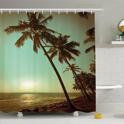 "Palm Tree Sunset Tropical Beach Dusk on Pacific Ocean Vintage Exotic Landscape Print Shower Curtain Set Size: 75"" H x 69"" W"