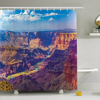 """House Epic Grand Canyon Activity of River Stream over Rock Plateau Shower Curtain Set Size: 70"""" H x 69"""" W"""