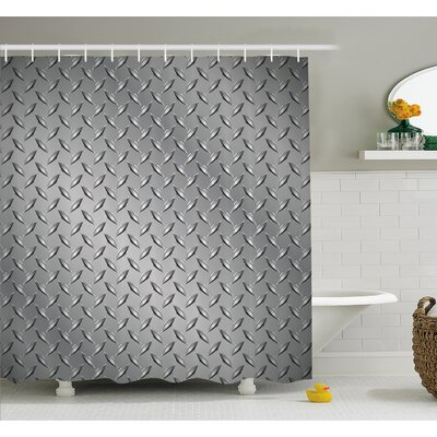 """Cross Wire Fence Netting Display with Diamond Plate Effects Chrome Kitsch Motif Shower Curtain Set Size: 70"""" H x 69"""" W"""