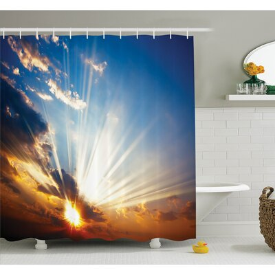 """Nature Sunbeams in Sky Scenery Shower Curtain Set Size: 75"""" H x 69"""" W"""