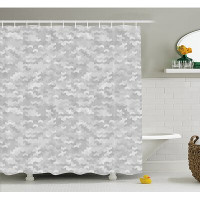 """Puzzle Like Pattern with Symmetric Fractal Pieces in Smokey Tones Modern Illustration Shower Curtain Set Size: 70"""" H x 69"""" W"""