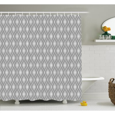 """Rhombus Forms in Victorian Stylized Authentic Dual Linked Bound Interior Angle Shapes Shower Curtain Set Size: 84"""" H x 69"""" W"""