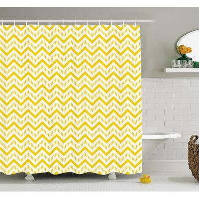 "Chevron Abstract Zig Zag Pattern Striped Cool Geometric 90s Style Art Shower Curtain Set Size: 70"" H x 69"" W"