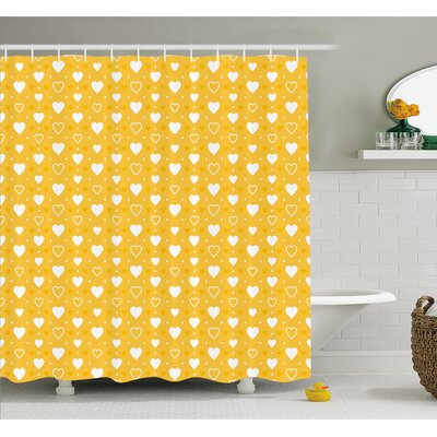 """Full and Empty Heart Shapes with Little Dots and Tiny Cute Hearts Pattern Shower Curtain Set Size: 70"""" H x 69"""" W"""