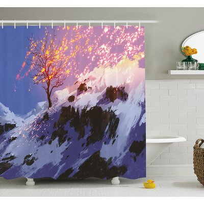"""Magical Landscape with Showing Bare Tree in Winter Valley with Snow Shower Curtain Set Size: 70"""" H x 69"""" W"""