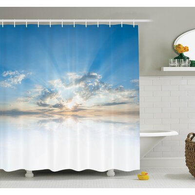 """Nature Sky Freedom Clouds Shower Curtain Set Size: 84"""" H x 69"""" W"""
