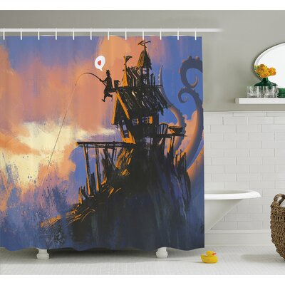 """Fisherman Sitting on the Castle Standing over Rocky Cliffs Haunted Paint Shower Curtain Set Size: 84"""" H x 69"""" W"""