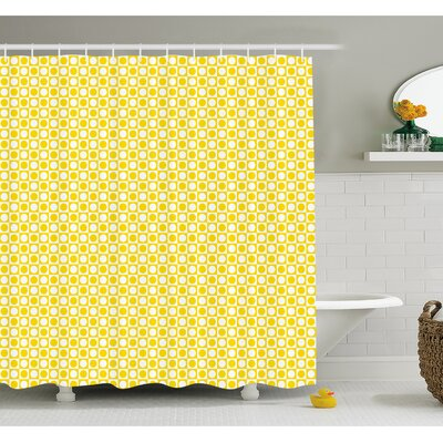 """Circles in Squares Dots Like Patterned Modern Cool Geometric Art Print Shower Curtain Set Size: 70"""" H x 69"""" W"""