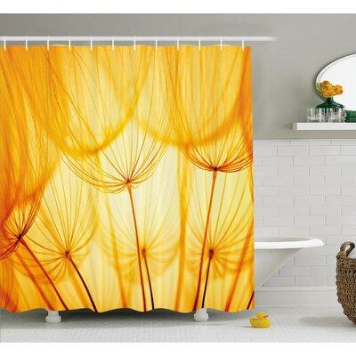 "Joy of Dandelion Flower Garden Seeds in Hot Summer Time Themed Artwork Shower Curtain Set Size: 75"" H x 69"" W"