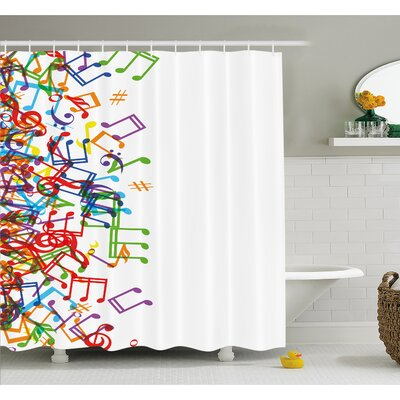 """Music Notes with Clef Rhythm Tempo Melody Harmony Print Shower Curtain Set Size: 84"""" H x 69"""" W"""
