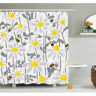 """Daisy Flowers with Bees in Spring Time Honey Petals Floret Nature Purity Bloom Shower Curtain Set Size: 84"""" H x 69"""" W"""