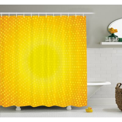"""Illustration Artwork with Circle in Shades of Dots Shower Curtain Set Size: 70"""" H x 69"""" W"""