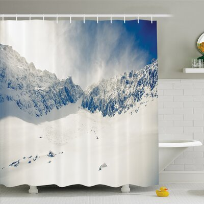 "Winter Fantasy Lands on Top of the World with Snowy Cliffs and Stones Alps Decor Shower Curtain Set Size: 70"" H x 69"" W"
